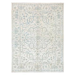 Arshs Kafkaz Peshawar Lucas Ivory/Gray Wool Rug (9'1 x 11'11) - 9' x 12'