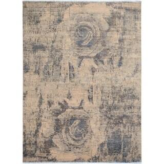 Modern Art Deco Rene Lt. Gray/Ivory Wool Rug (7'11 x 9'10) - 8' x 10'