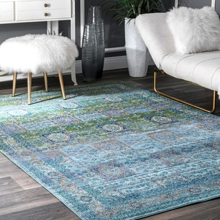 nuLOOM Blue Traditional Vintage Faded Medallion Patches Floral Area Rug