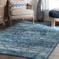 "nuLoom Heartpiece Faded Blue/Off-white Vintage Floral Area Rug (7'10 x 10'10) - 7'10"" x 10'10"""