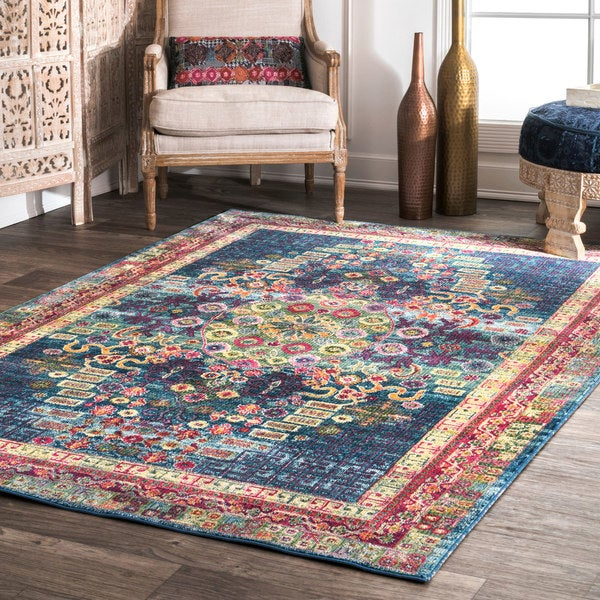 nuLOOM Blue Traditional Vibrant Abstract Floral Tiles Area Rug