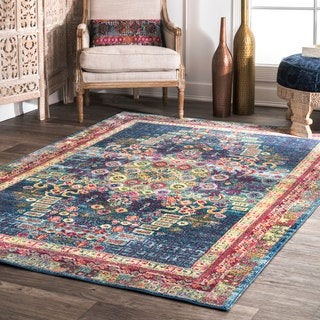 nuLOOM Traditional Vibrant Abstract Floral Tiles Blue Rug (7'10 x 10'10)