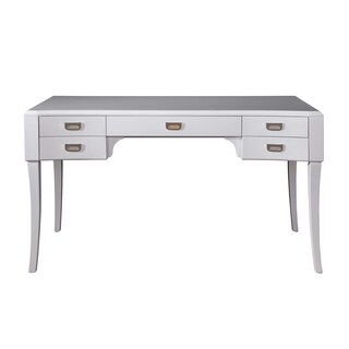 High Gloss White Wood 5-drawer Accent Desk