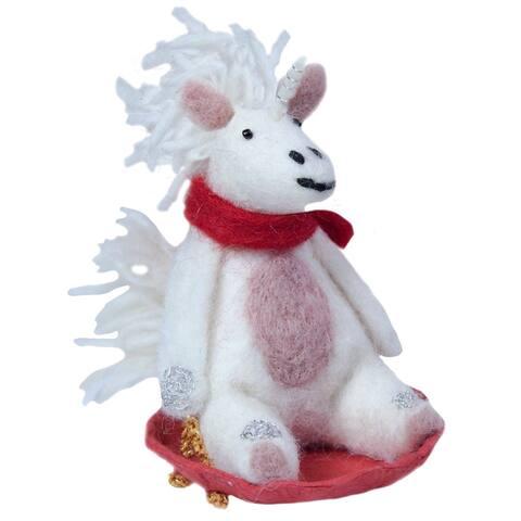 Handmade Sledding Unicorn Felt Ornament (Nepal)