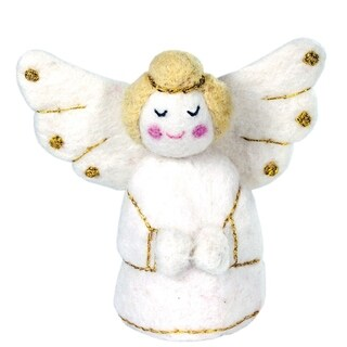 Handmade White Golden Angel Felt Ornament (Nepal)