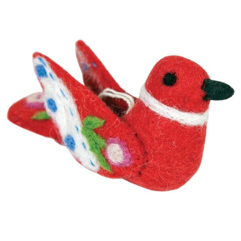 Handmade Alpine Love Bird Felt Ornament - Red (Nepal)