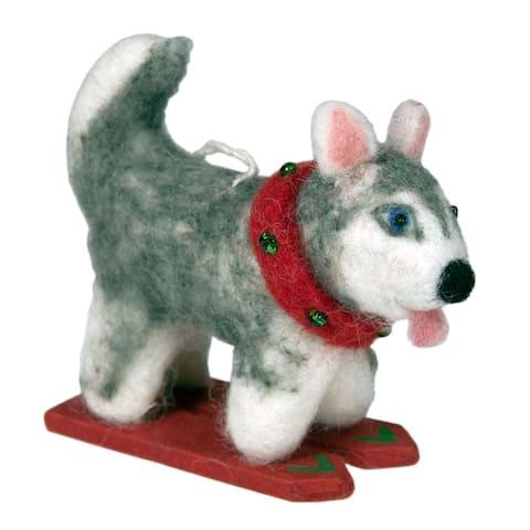 Handmade Felt Ornament Skiing Husky (Nepal)