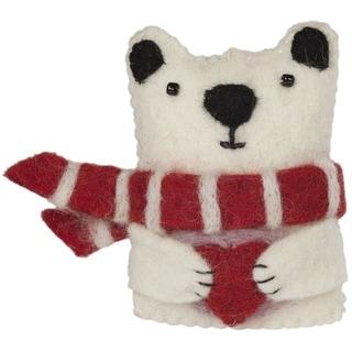 Handmade Paxton Polar Bear Felt Ornament (Nepal)