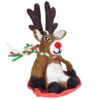 Handmade Dasher Jr Reindeer Felt Ornament (Nepal)