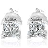 Bliss 10k White Gold 1/3 ct TDW Cluster Princess Cut Diamond Screw Back Studs Earrings
