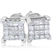 Bliss 10k White Gold 1/2 ct TDW Cluster Princess Cut Diamond Screw Back Studs Earrings
