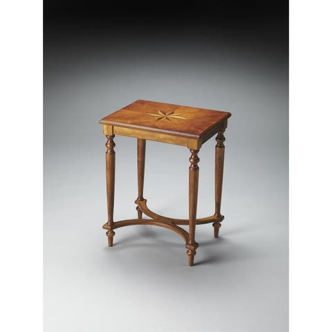 Butler Distressed Wooden Accent Table in Olive Ash Burl Finish