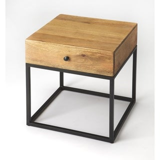 Handmade Brixton Iron and Wood End Table (India)