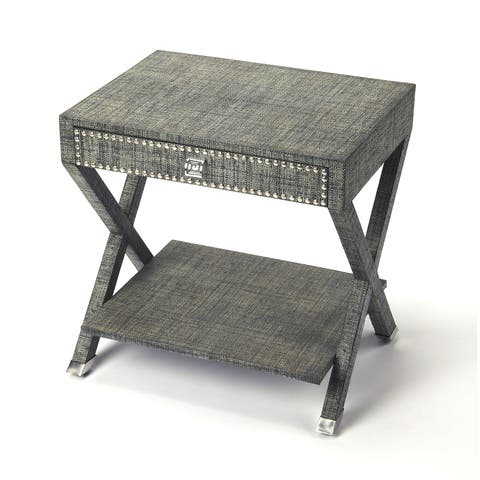 Butler Benito Modern Rectangular Raffia End Table - Gray