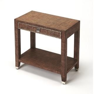 Butler Bernardo Modern Rectangular Raffia End Table - Medium Brown