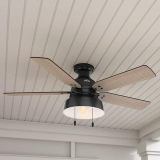 "Hunter 52"" Mill Valley Outdoor Low Profile Ceiling Fan with LED Light Kit and Pull Chain, Damp Rated"