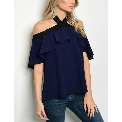 JED Women's Ruffled Off Shoulder Navy Halter Top