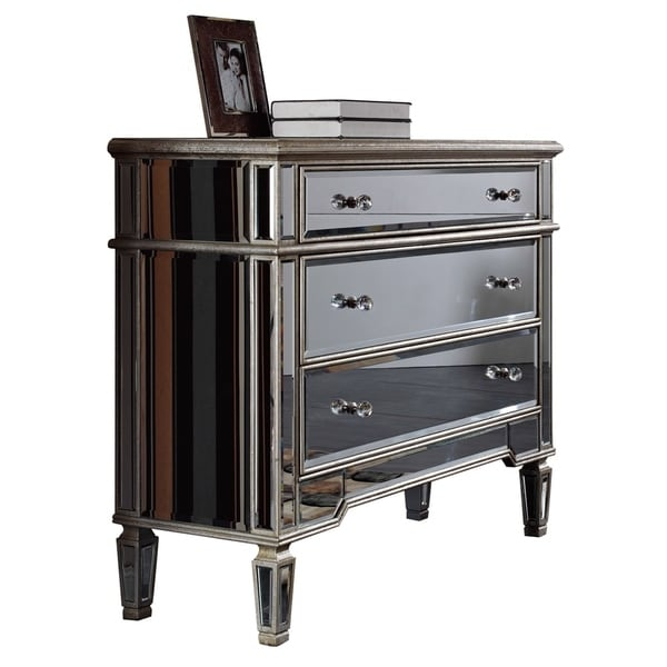 Florentine Collection Silver Leaf/Mirrored Finish 3-drawer Cabinet