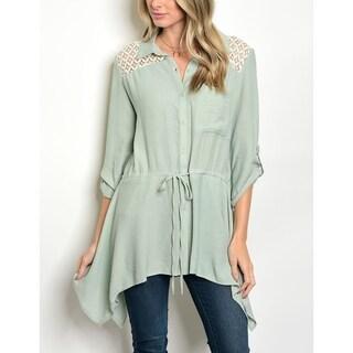 JED Women's 3/4 Sleeve Button Down Asymmetrical Tunic Shirt