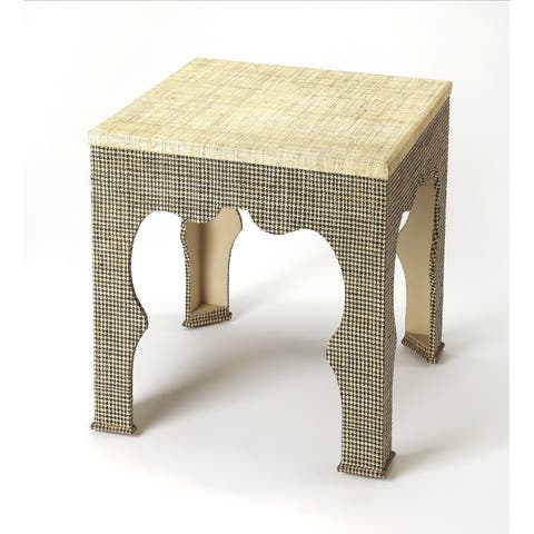 Butler Haverford Houndstooth Raffia End Table