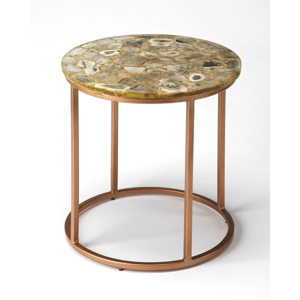 Butler Cora Polished-finished Agate and Copper-finished Iron Accent End Table