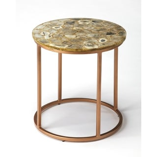 Butler Cora Polished Finished Agate And Copper Finished Iron Accent End  Table