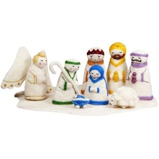 Handmade Felt Holy Family Nativity (Nepal)