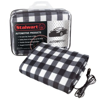 Electric Heater Car Blanket- Heated Travel Throw Electric Blanket for Car and RV, 12 volt by Stalwart- Black and White
