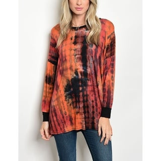 JED Women's Stretchy Knit Tie Dye Drop Shoulder Top