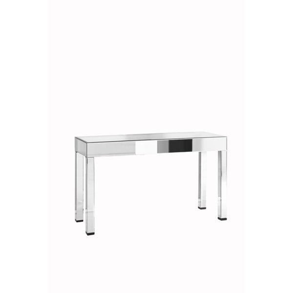 Clear/Silvertone Crystal/Glass Rectangular Console Table