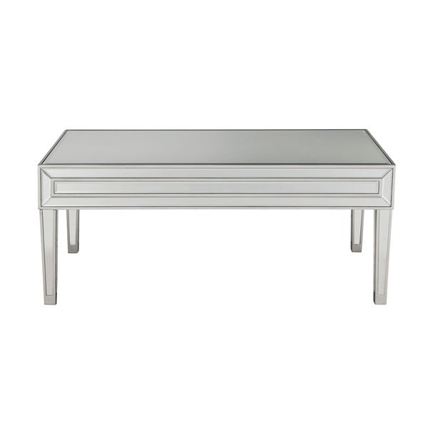 Reflexion Antique Silver Paint Wood/Mirror 40-inch x 20-inch x 18-inch Coffee Table