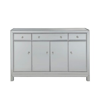 """Buffet Cabinet 3 drawers 4 doors 56""""W x 13""""D x 36""""H in antique silver paint"""
