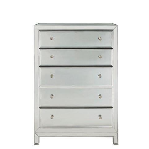 "Chest 5 drawers 34""W x 16""D x 48""H in antique silver paint"