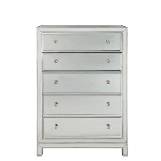 Reflexion Antique Silver Paint Wooden 48-inch 5-drawer Chest