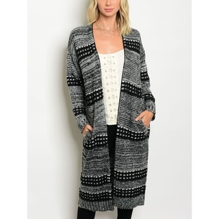 JED Women's Gray & Black Thick Knit Acrylic Long Cardigan
