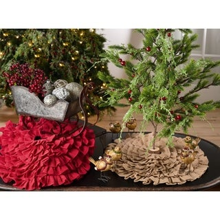 Tiered Ruffle Design Jute Christmas Mini Tree Skirt
