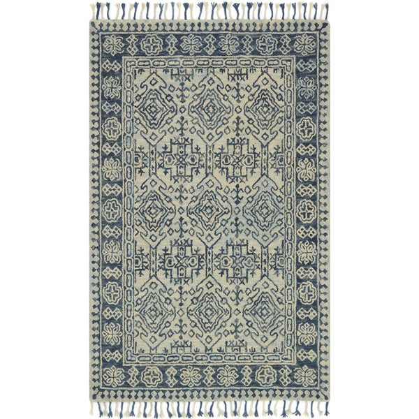 Hand Hooked Grey Blue Traditional Wool Area Rug With Fringe 9 3 X 13 On Free Shipping Today 18003033