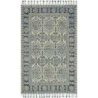 Hand-hooked Grey /Blue Traditional Wool Area Rug with Fringe - 9'3 x 13'