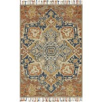 Hand-hooked Rust/ Blue Medallion Wool Area Rug with Fringe - 9'3 x 13'
