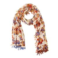 Handmade Veroma Women's Tassel Fall Floral Scarf (India)