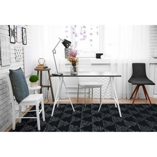 "Hand-Tufted Homa Black Wool Rug - 3'6"" x 5'6"""