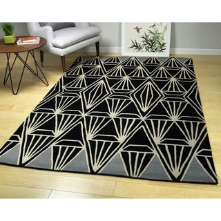 "Hand-Tufted Zen Black Wool Rug - 3'6"" x 5'3"""