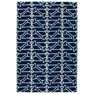 "Hand-Tufted Zen Navy Wool Rug - 3'6"" x 5'3"""