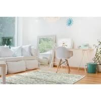Bombay Home Hayden Turquoise/Cream Wool/Chenille Handmade Ombre Area Rug (3'6 x 5'6)