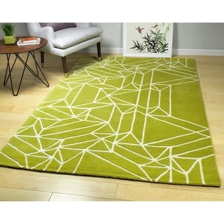 "Hand-Tufted Zen Lime Green Wool Rug - 3'6"" x 5'3"""