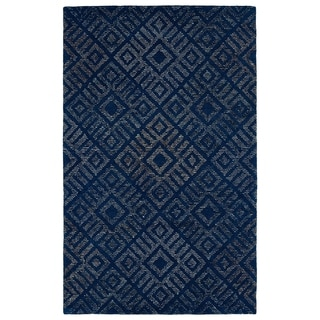 "Hand-Tufted Homa Blue Wool Rug - 3'6"" x 5'6"""