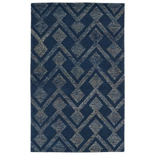 """Link to Hand-Tufted Homa Navy Wool Rug - 3'6"""" x 5'6"""" Similar Items in Rugs"""