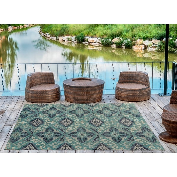 Indoor/Outdoor Hand-Tufted Robinson Teal Polyester Rug - 4' x 6'