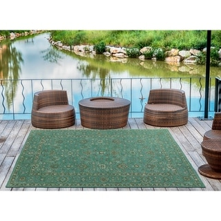 Indoor/Outdoor Hand-Tufted Robinson Turquoise Polyester Rug - 4' x 6'