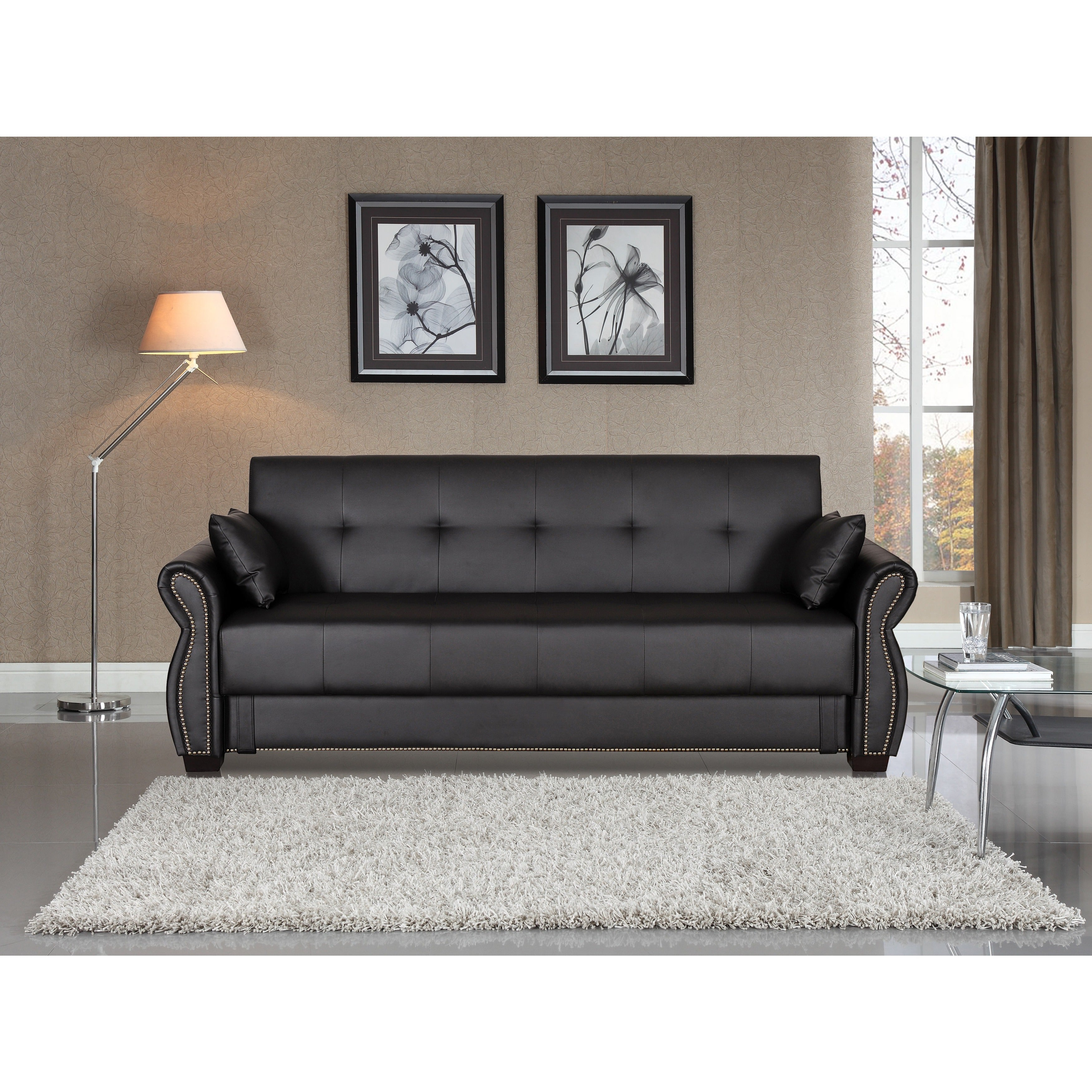 Serta Ainsley Faux Leather/Foam Convertible Sofa with Wood Frame